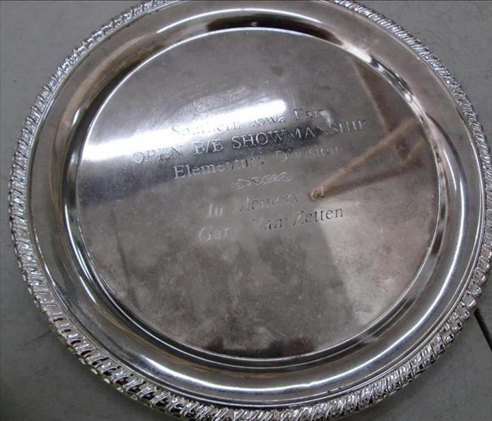Silver Plate Cleaned After Fire Damage After