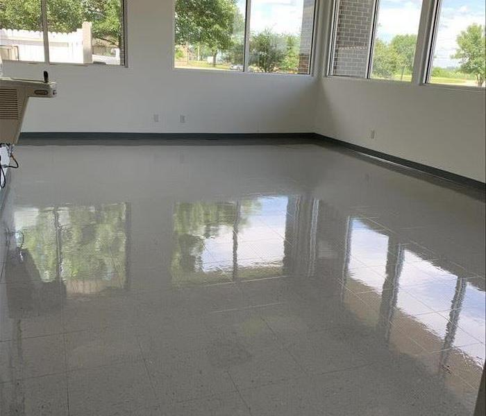 Commercial tile floor is shiny and clean
