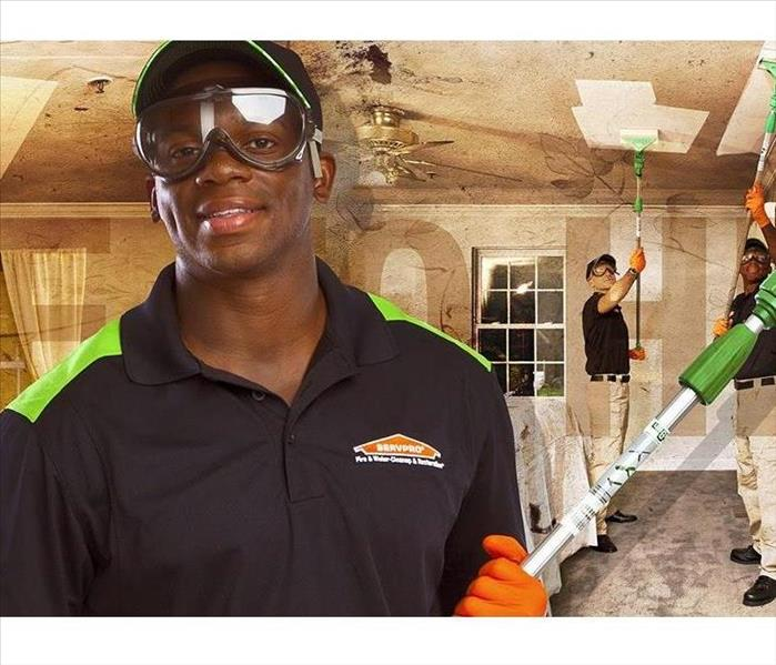 SERVPRO professionals with dry sponges