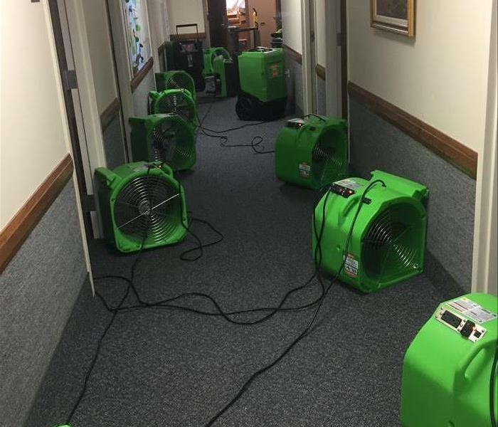 Air movers set on a commercial job